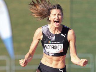 Nicola McDermott celebrates clearing 2.00m