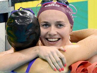 Ariarne Titmus celebrates her Australian Record