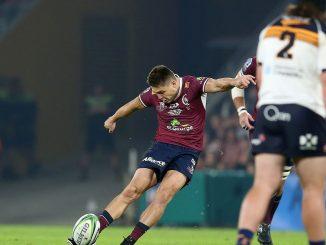 James O'Connor kicks for the Queensland Reds
