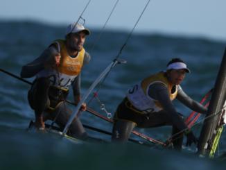 Nacra 17 teammates sailing at Rio 2016
