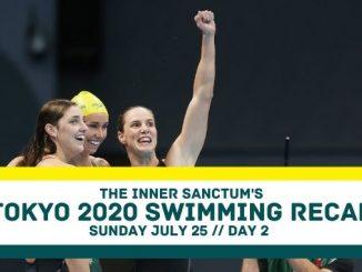 The Women's 4x100m Freestyle Relay Team celebrate