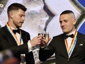 Bryce Gibbs (left) and James Tsitas were joint-Magarey Medal winners for the 2021 SANFL season.