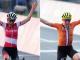 Anna Kiesenhofer (L) and Annamiek van Vleuten (R) both celebrate as they crossed the line at Tokyo 2020.